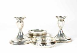 Konvolut Silberobjekte 16-tlg., 12 Glas- und ein Flaschenuntersetzer von Jakob Grimmiger, Schwäbisch