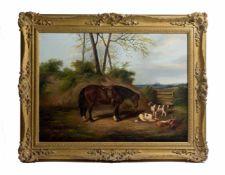 James Clark (1858 - 1943, Großbritannien) Landschaftsszene mit gesatteltem Pferd, 2 Jagdhunden und