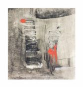 Marianne Gehrckens (20. Jh., Deutschland) Stufen III, Erdfarben auf Papier, auf Keilrahmen