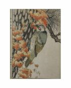 Imao Keinen (1845 Kyoto - 1924 ebenda) 4-tlg. Konvolut, Farbholzschnitte, Vogeldarstellungen, 32