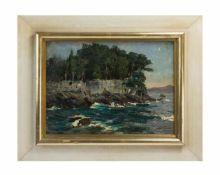 Cornelius Wagner (1870 Dresden - 1956 Söcking) Die Teufelsinsel, Öl auf Platte, 25,5 cm x 34,5 cm,