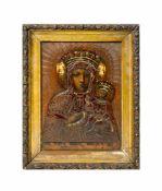 Ikone 'Schwarze Madonna mit Jesuskind' Polen, um 1900, Öl auf Holz, Inschrift 'pod twoja obrone