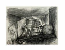 Unbekannter Künstler (20. Jh.) Interieurszene mit Personen, Bleistift auf Papier, 24 cm x 31,8 cm