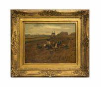 Fritz Schnitzler (1851 Tönisheide - 1920 ebenda) Kartoffelernte, Öl auf Holz, 37 cm x 48,5 cm, unten