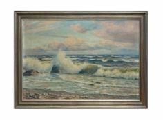 Edouard Lucke (1901 - 1972, Belgien) Meeresbrandung, Öl auf Leinwand, doubliert, 70 cm x 100 cm,