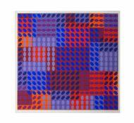 Victor Vasarely (1908 Pecs - 1997 Annet-sur-Marne) (F) Komposition in Rot und Blau, Siebdruck auf