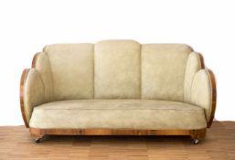 Epstein Sofa 'Cloud' England, Entwurf von Harry und Lou Epstein um 1930, cremefarbener Lederbezug