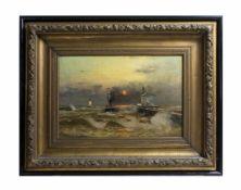 Heinrich Petersen-Angeln (1850 Westerholz - 1906 Düsseldorf) Hafenansicht in Ostende, Öl auf