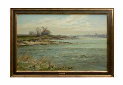 Fritz Köhler (1887 Moritzberg - 1972 Düsseldorf) (F) Niederrhein bei Langst, Öl auf Leinwand, 50,5