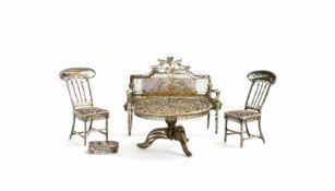 Silber-Miniaturmöbel 5-tlg., russische Handarbeit, Silber, geprüft, ein Tisch, Sofa, Hocker und 2