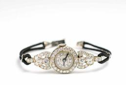 Marvin Damenarmbanduhr, Art déco, Handaufzug, Gehäuse 585 Weißgold, Durchmesser 16 mm, Armband 585