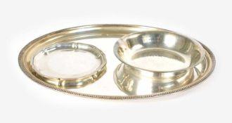 Konvolut Silberplatten 3-tlg., Deutschland, 800 Silber, alle Teile mit Feingehalt, Halbmond und