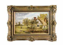 Nathaniel Hickman (19. Jh., England) Landschaft mit Bauernhaus, Öl auf Platte, 32 cm x 48 cm,