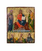 Ikone mit segnendem Christus Balkan oder Griechenland, Ende 19. Jh., Eitempera auf Kreide auf