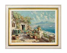 Giuseppe Salvati (1900 - 1968, Italien) Blick auf die Amalfiküste, Öl auf Leinwand, 50 cm x 70 cm,