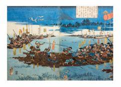 Unbekannter Künstler (19. Jh.) Diptychon Samurai Clans, die mit Flößen übersetzen, Japan, 19. Jh.,