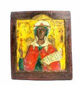 Ikone mit Heiligendarstellung Russland, Ende 19. Jh., Eitempera auf Kreidegrund auf Holztafel,