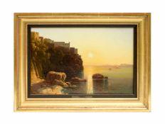P. Bamberger (19. Jh., Würzburg) Sonnenuntergang bei Malta, Öl auf Leinwand, 25,8 cm x 36,7 cm,