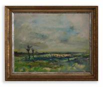Johannes Greferath (1872 Schlesien - 1946 Köln) Uferlandschaft, Öl auf Platte, 60 cm x 74 cm,