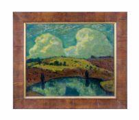 Carl Max Rebel (1874 - 1954, Deutschland) Landschaftsansicht, Öl auf Platte, 50,6 cm x 60,5 cm,