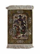Keshan Iran, Seide auf Seide, Zetifikat von 1992 vorhanden, 69 cm x 48 cm (ohne Fransen), mittig