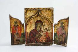 Triptychon mit der Gottesmutter Hodegetria Griechenland, Mitte 18. Jh., Eitempera auf Kreide auf