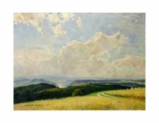 Albert Kunze (1877 Frankenhausen - 1949 Sebnitz) Ausblick ins Elbtal, Öl auf Leinwand, 65,5 cm x