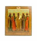 Patronatsikone Russland, 19. Jh., Eitempera auf Kreidegrund auf Holz, 35 cm x 30,8 cm, partiell