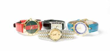 Gucci Vintage Konvolut 4 Damenarmbanduhren, 1980 und 1990er Jahre, Quarz, Modell 3000 M, vergoldetes