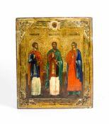 Ikone mit den 3 Heiligen Samon, Gurij und Aviv Russland, 19. Jh., Eitempera auf Kreidegrund auf