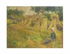 Amelie Ruths (1871 Hamburg - 1956 ebenda) Sitzende Frau im Feld vor Heugarben, Öl auf Leinwand, 30