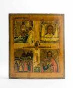 Vierfelder-Ikone Russland, 18. Jh., Eitempera auf Kreidegrund auf Holz, mittig Christusdarstellung