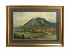 Curt Agthe (1862 Berlin - 1943 ebenda) Lago di Lecro mit Blick auf die Stadt Lecro, Öl auf