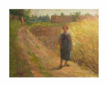 Amelie Ruths (1871 Hamburg - 1956 ebenda) Frau auf Feldweg, Öl auf Leinwand, 38 cm x 48 cm, unten
