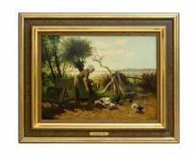 Gerard Jan Bos (1860 Utrecht - 1943 Zupthen) Bäuerin beim Entenfüttern, Öl auf Holz, 31,5 cm x 43