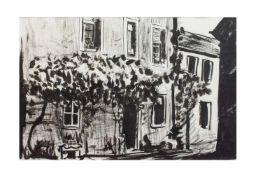 Unbekannter Künstler (20. Jh.) Häuseransicht, Tusche auf Papier, 38 cm x 57 cm Passepartoutinnenmaß,
