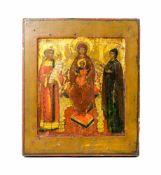 Ikone 'Thronende Gottesmutter mit Christuskind und 2 Heiligen' Russland, 19. Jh., Eitempera auf