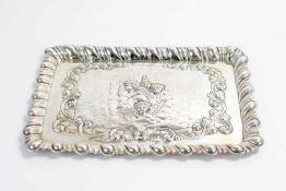 Tablett mit Putti England, Chester, William Neale, 1903, 925 Silber, mit schreitendem Löwen, Wappen,