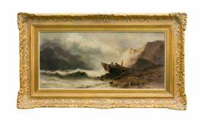 Sarah Louise Kilpack (1839 - 1909, England) Schiffbruch an stürmiger Küstenlandschaft, Öl auf