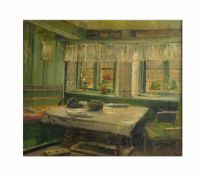 Amelie Ruths (1871 Hamburg - 1956 ebenda) Kücheninterieur mit Tisch und Fenstern, Öl auf Leinwand,
