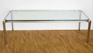 Couchtisch im Stil Walter Knoll Metallgestell mit aufgelegter Glasplatte, Höhe 46 cm, Breite 154,5