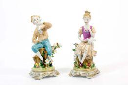 Paar Kinderfiguren Meissen-Imitationsmarke, 20. Jh., Porzellan, weiß, farbig und gold staffiert,