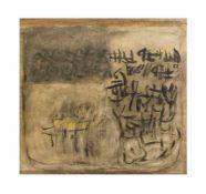 Marianne Gehrckens (20. Jh., Deutschland) Fernöstliche Botschaften V, Erdfarben auf Papier, 108 cm x