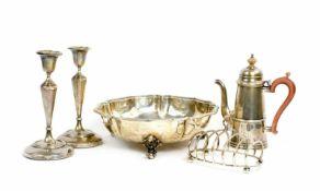 Konvolut Silberobjekte 5-tlg., 4 Teile Birmingham, ein Teil London, England, 19. Jh., 925 Silber,