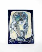 Leopold Richter (1896 Groß-Auheim - 1984 Bogotá) Die Eule, 1970er Jahre, Keramik auf Holzplatte