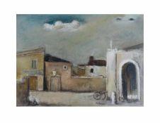 Carl Altena (1894 Dortmund - 1971 Mülheim an der Ruhr) Französische Dorfansicht mit Kanone,