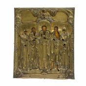 Patronatsikone mit Oklad Russland, 19. Jh., Tempera auf Holz, 35,5 cm x 30,2 cm, beschädigt
