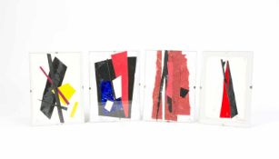 Heinrich Siepmann (1904 Mülheim an der Ruhr - 2002 ebenda) (F) Vier abstrakte Collagen, Karton,