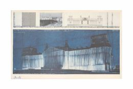Christo (1935 Gabrowo) Wrapped Reichstag, Project for Berlin Nr. VII, Vierfarbenoffset im Nass-in-