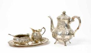 Dejeuner 5-tlg., Kännchen, Schale, Löffel, Tablett und eine Kanne, um 1900, 800 Silber, Löffel 835